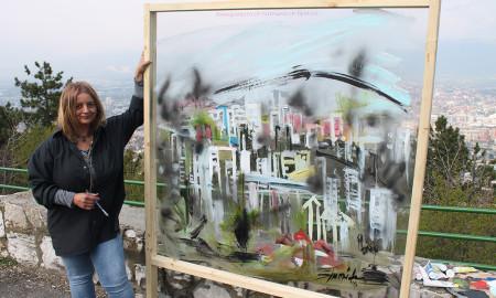 ФОТОГАЛЕРИЈА: Уметниците го насликаа загадување на Скопје