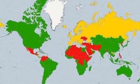 ЗА ПРАЗНИЧНИТЕ ПАТУВАЊА: Мапа на најбезбедните земји во светот
