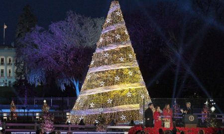 Трамп и Меланија ги вклучија светилките на новогодишната елка пред Белата куќа (ВИДЕО)