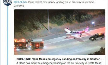 Авион принудно слета на автопат во Калифорнија